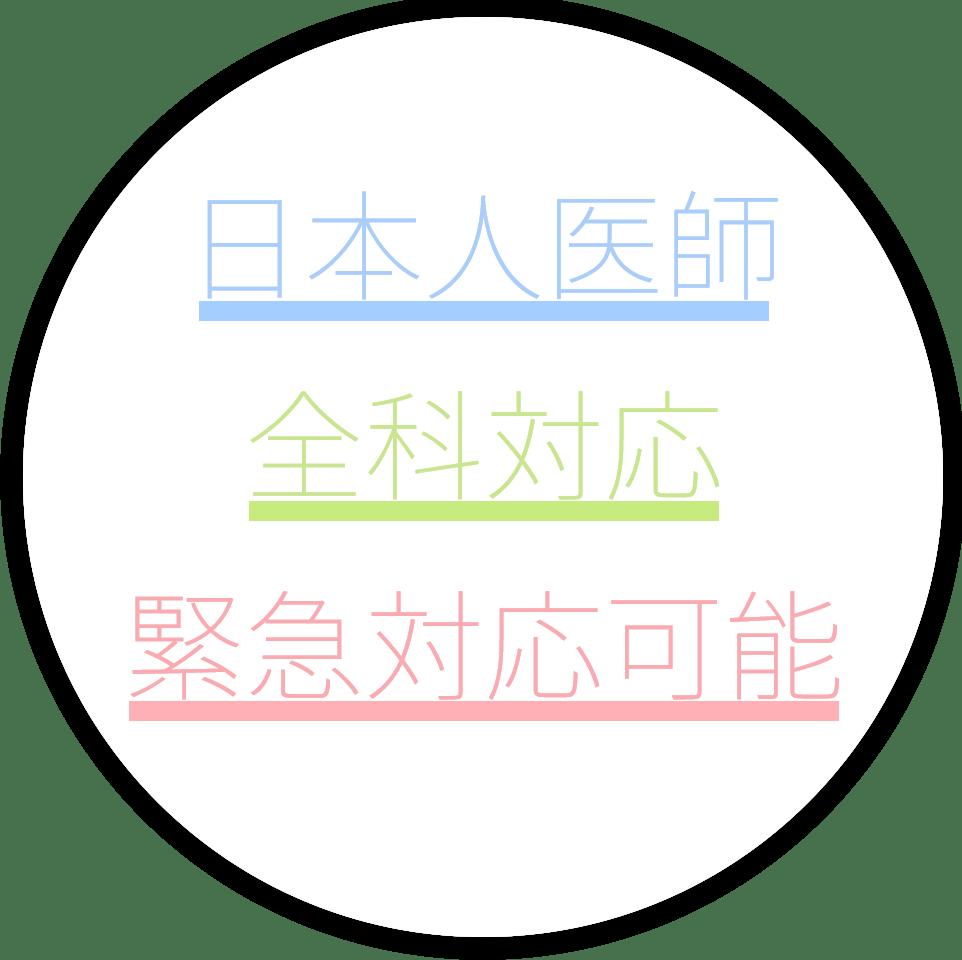 日本人医師、全科対応、緊急対応可能